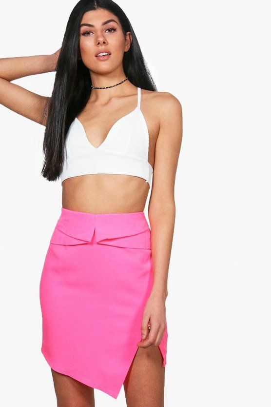Freya Woven Asymetric Zip Detail Mini Skirt
