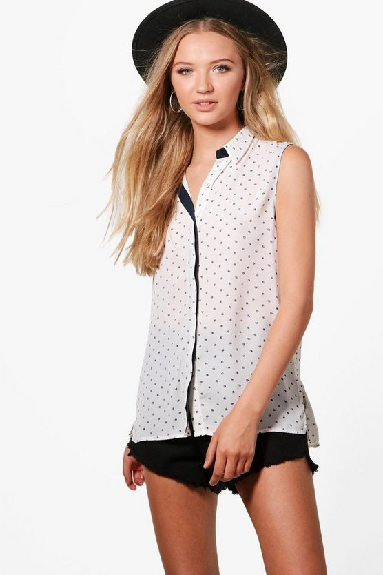 Georgina Printed Sleeveless Shirt