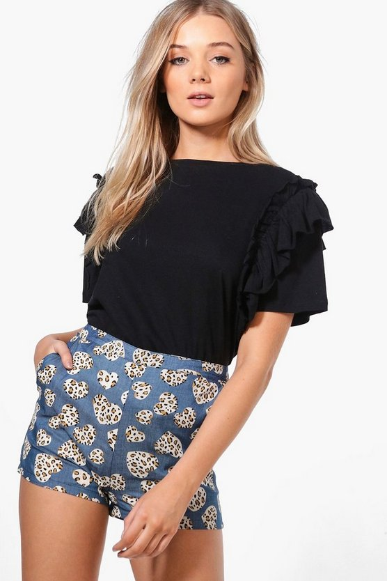 Hannah Denim Look Woven Heart Print Shorts