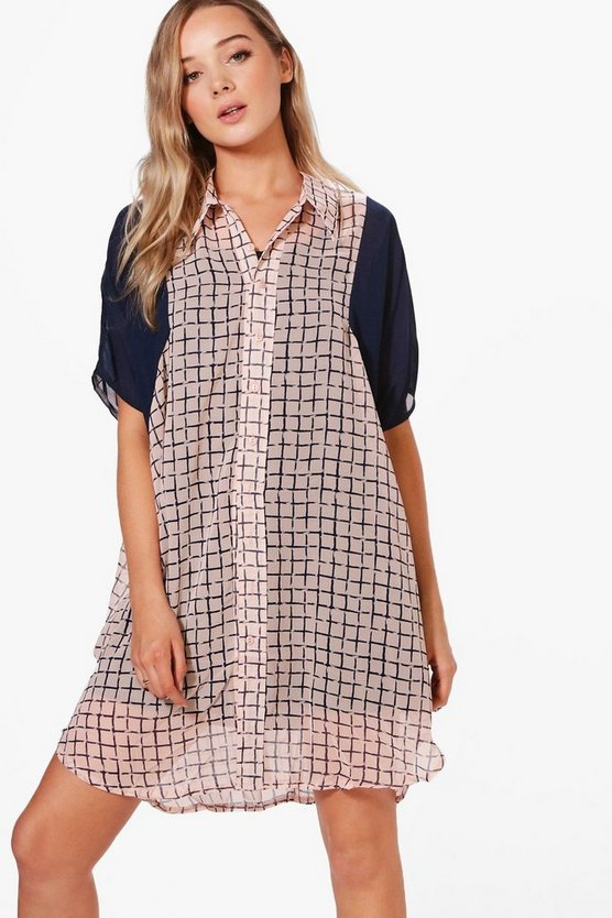 Hanna Cage Print Blocked Shirt Dress