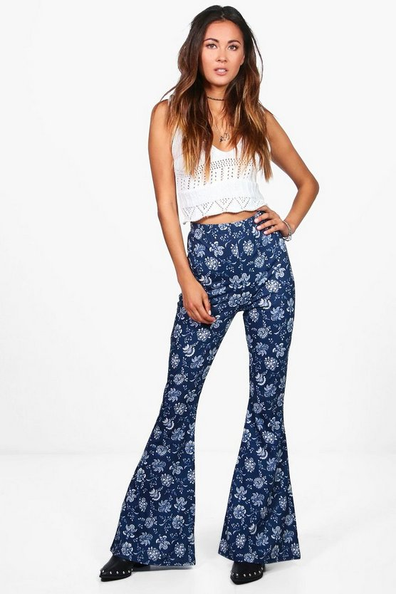 Pia Paisley Floral Jersey Flares