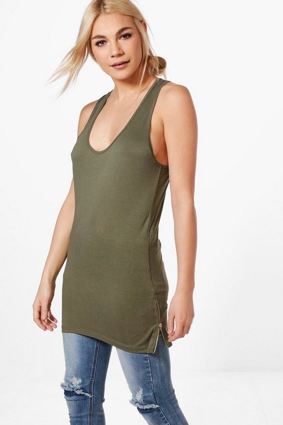 Dee Long Line Vest With Zips