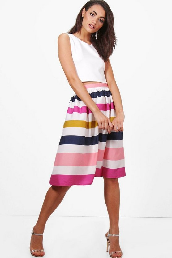 Lucy Stripe Midi Skirt