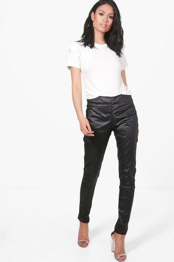 Arielle Leather Look Coated Skinny Trousers