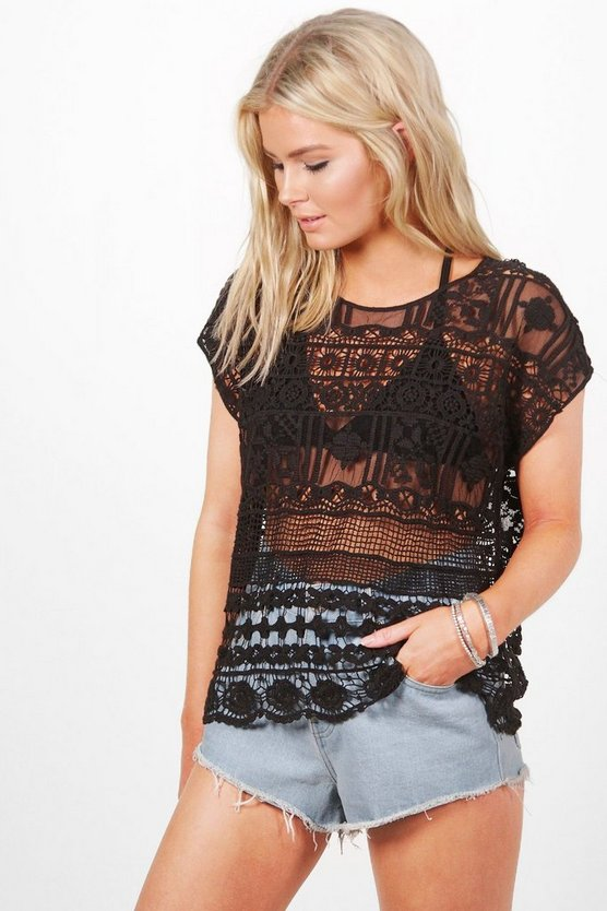 Yvonne Crochet Wide Neck T Shirt
