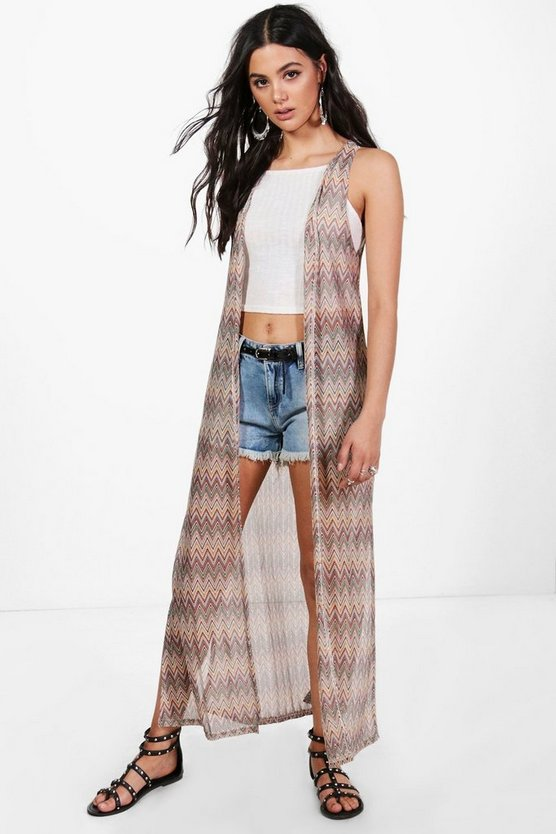 Sandy Sleeveless Maxi Zig Zag Cardigan