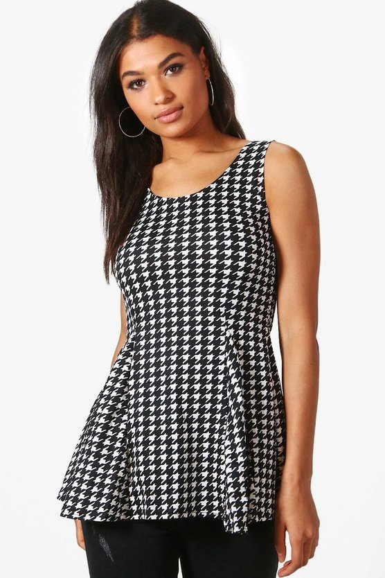 Avery Dogtooth Print Top