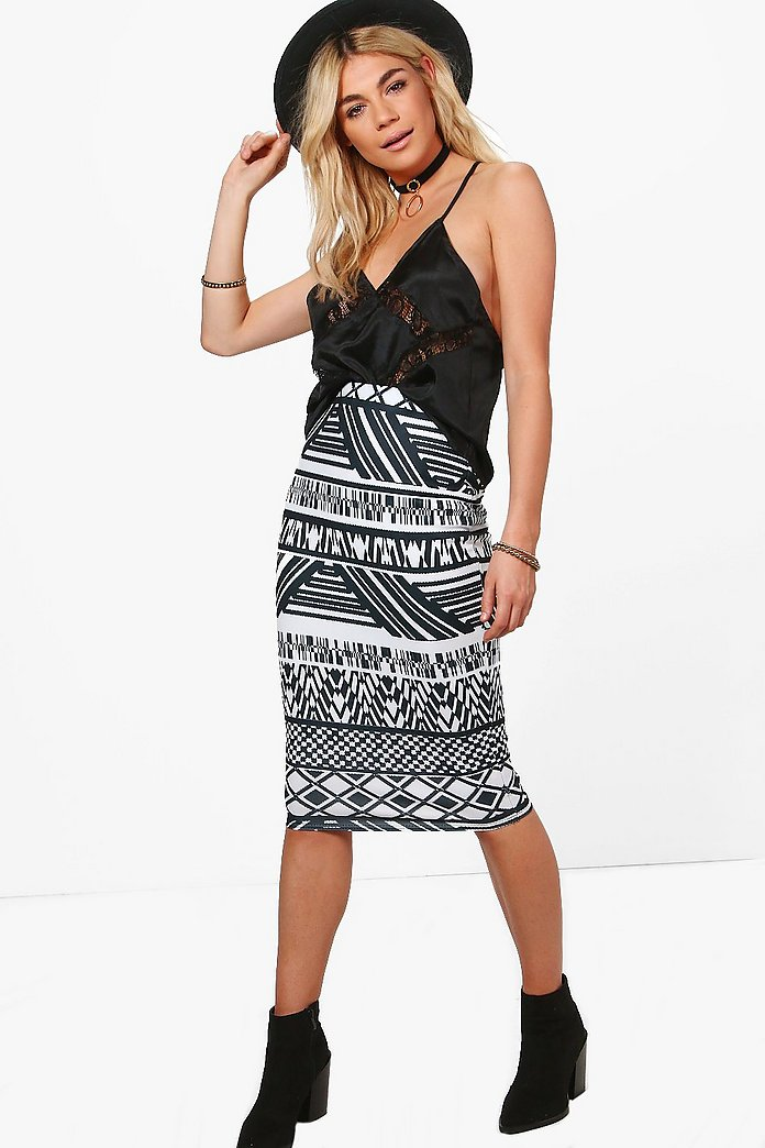 Avery Monochrome Print Midi Skirt