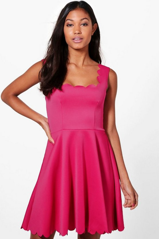 Phoebe Scallop Edge Skater Dress