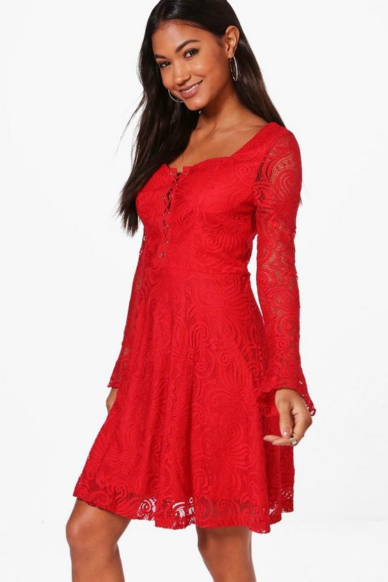 Maisie Lace Up Front Lace Dress