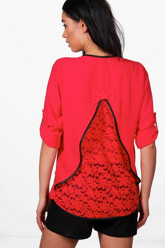 Poppy PU Trim Lace Back Blouse