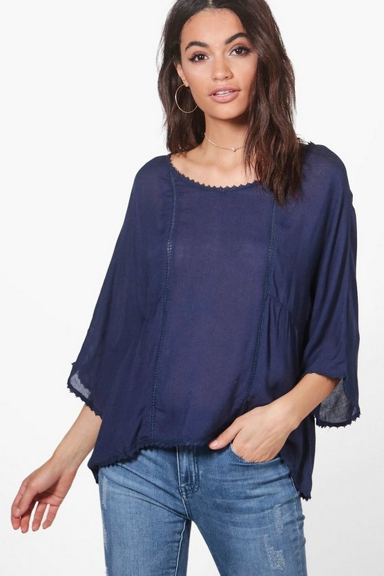Phoebe Flower Trim Smock Top