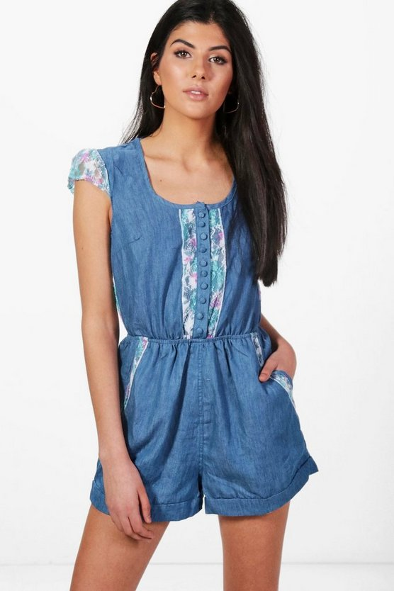 Leah Denim Playsuit With Lace Detail