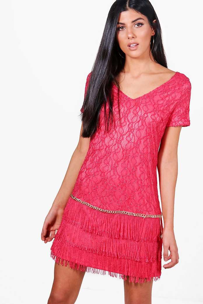 Maddison Chain Detail Fringed Dress