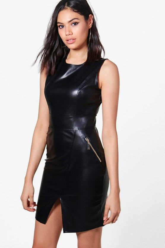 Skye PU Zip Detail Dress