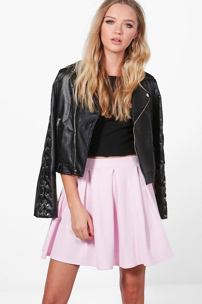 Leah Textured Box Pleat Skater Skirt