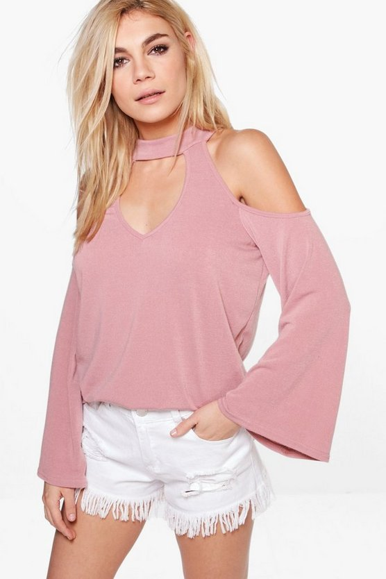 Ellie Cold Shoulder Fine Knit Jumper