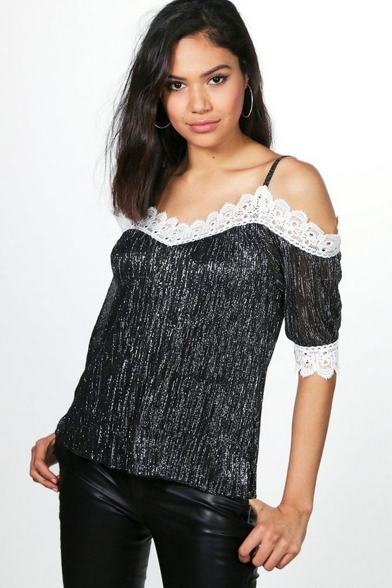Alice Lace Trim Metallic Top