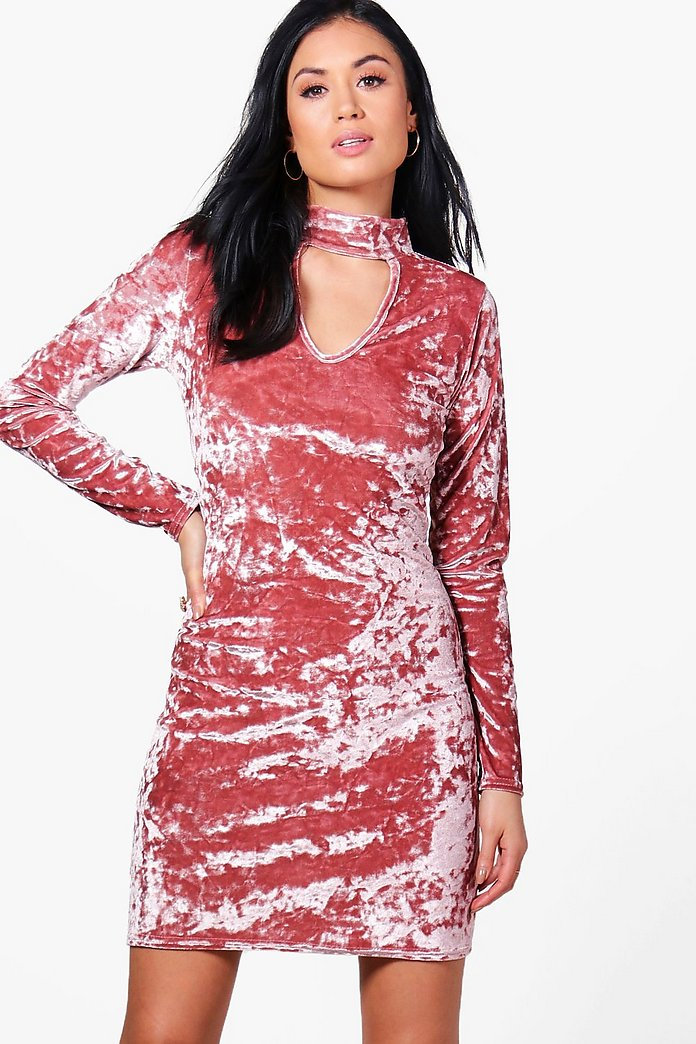 Niamh Crushed Velvet Choker Dress