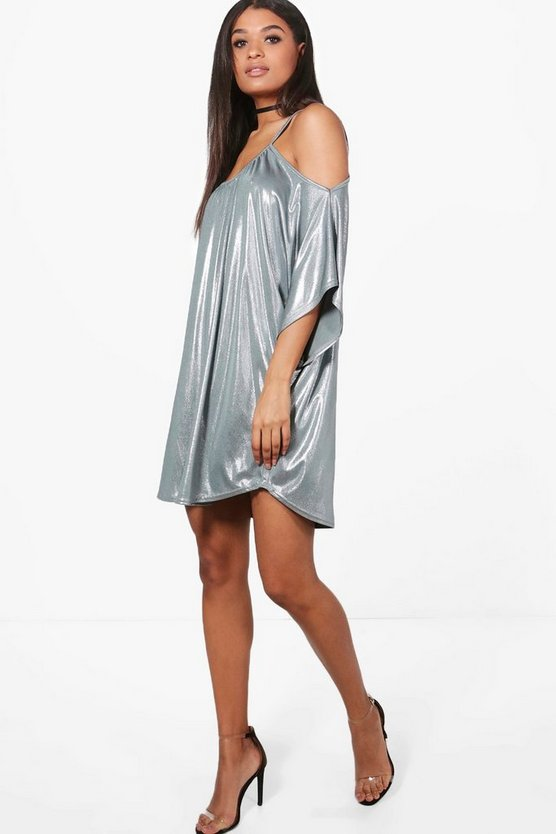Paige Metallic Cold Shoulder Dress