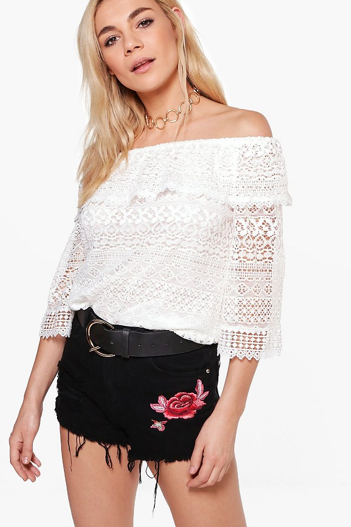 Heather Lace Off The Shoulder Top