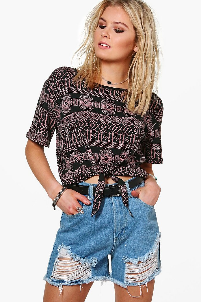 Charlotte Printed Tie Crop Top