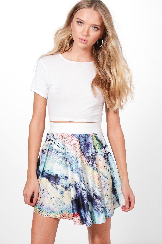 Printed Mini Skirt  blue