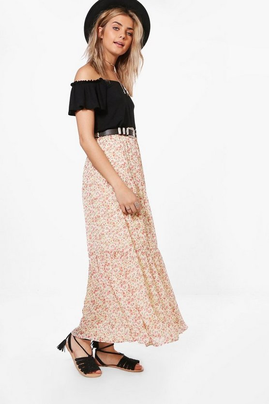 Ashley Ditsy Print Maxi Skirt