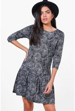 Caroline Printed Peplum Dress