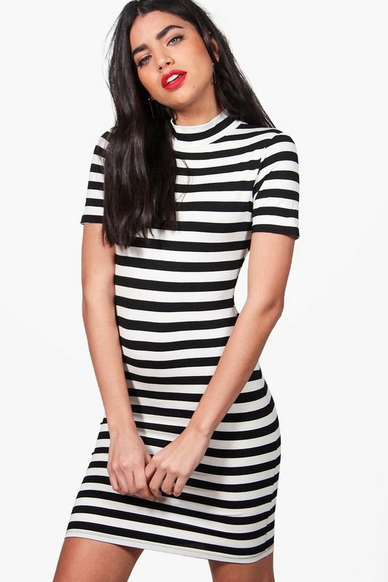 Larisa Stripe Long Sleeved Bodycon Dress