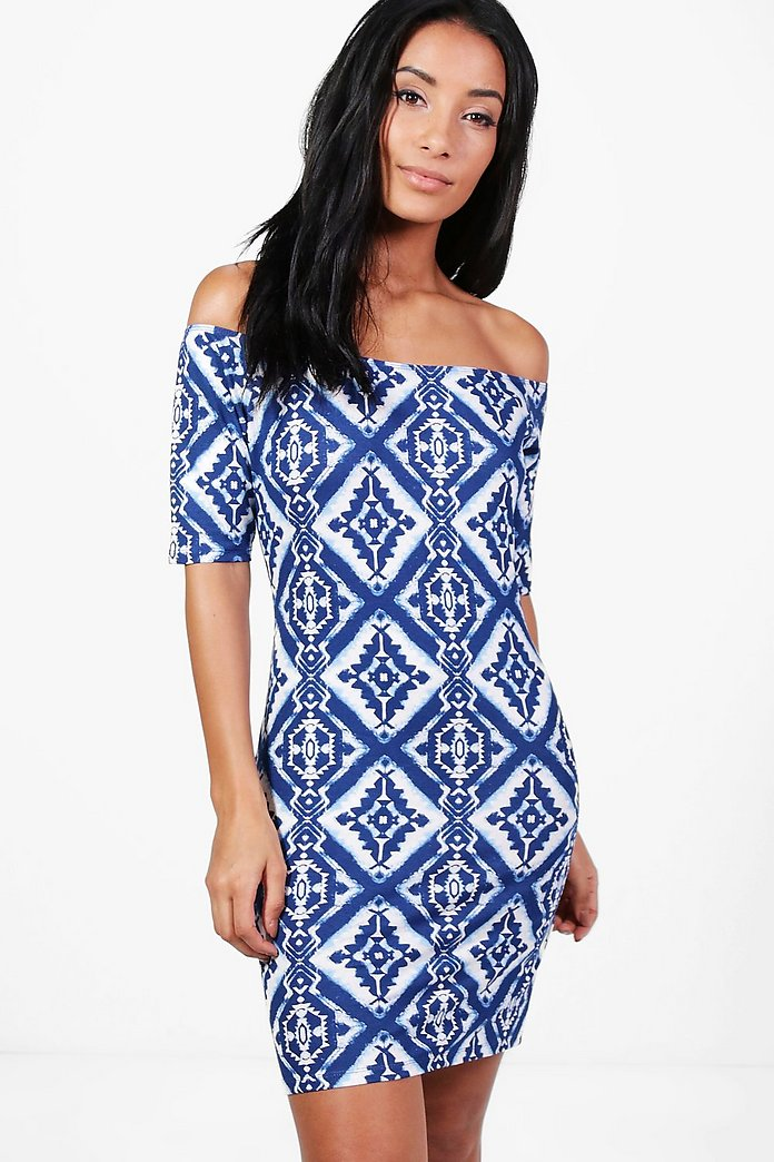 Jenny Printed Off Shoulder Bodycon Dress