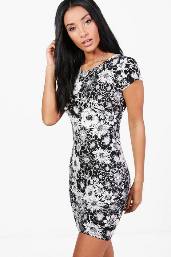Charly Floral Cap Sleeve Bodycon Dress