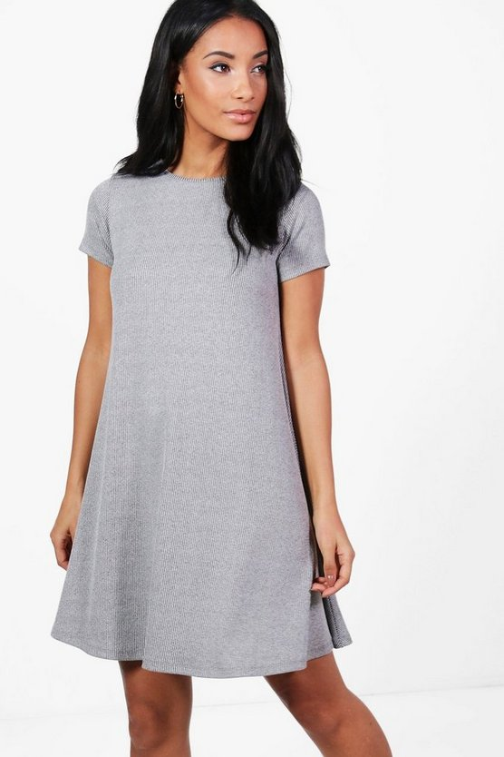 Rona Ribbed Cap Sleeve Swing Dress