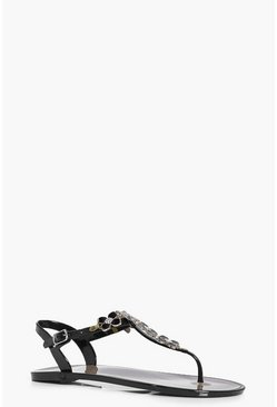 Ana Embellished Floral Thong Jelly Sandal