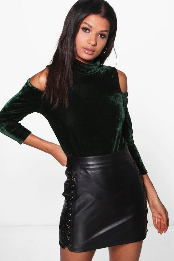 Eva Crushed Velvet Cold Shoulder Top