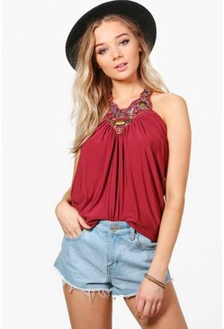 Elizabeth Embroidered Strap Top