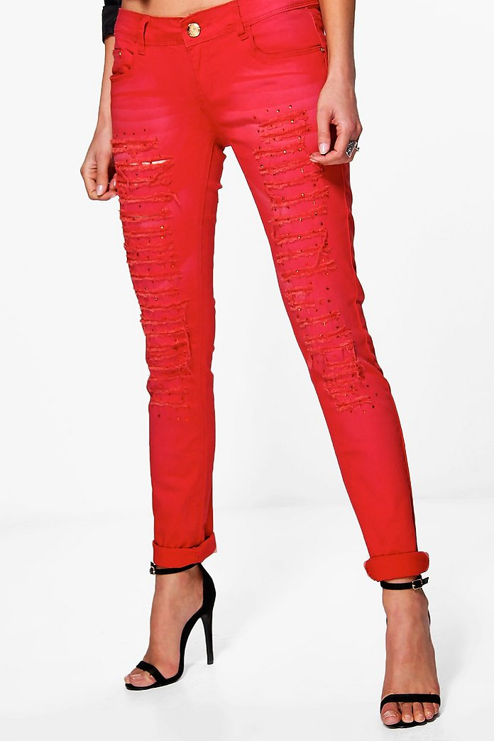 Emma Red Embellished Jeans