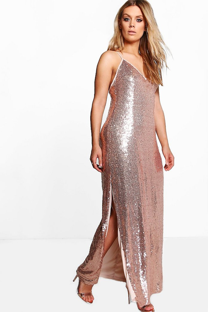 Plus Amy Side Split Sequin Maxi Dress