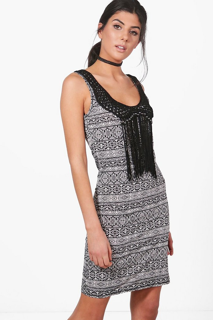Faye Mono Crochet Tassle Bodycon Dress