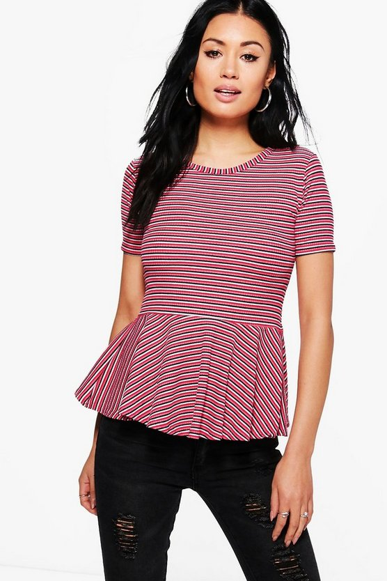 Vivian Stripe Short Sleeve Peplum