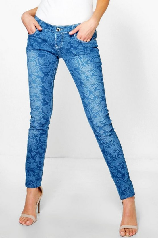 Lois Mid Rise Rose Print Skinny Jeans