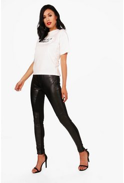 Priya Leather Look Panelled Leggings