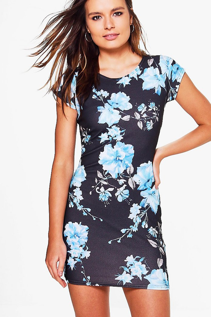 Trixie Floral Cap Sleeve Bodycon Dress
