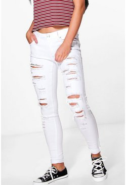Leah Ripped Low Rise Skinny Jeans