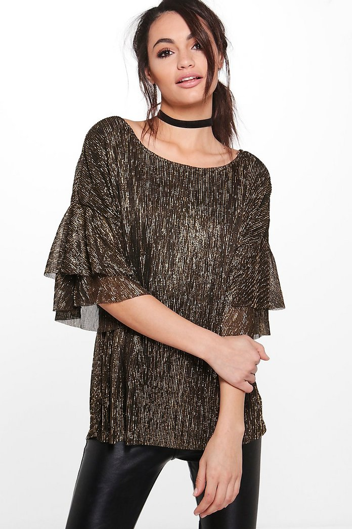 Lucy Pleated Metallic Frill Sleeve Top