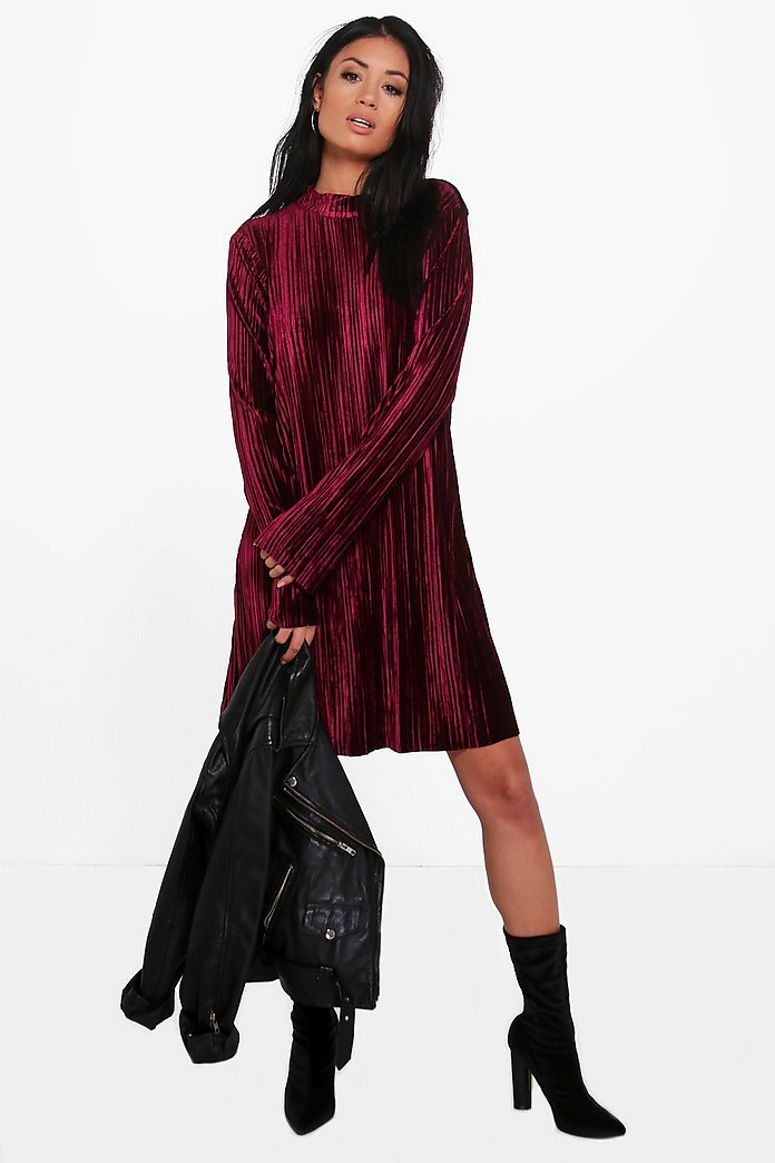 Dehlia High Neck Velvet Pleated Shift Dress