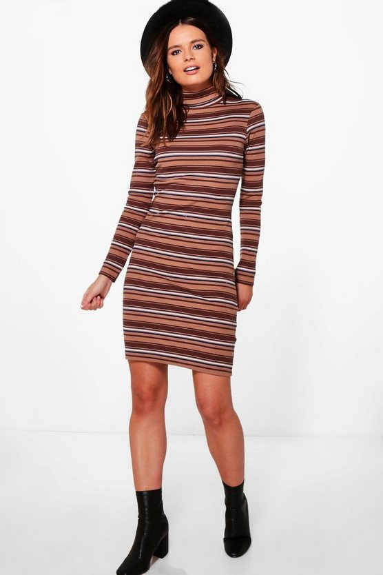 Sabrina Roll Neck Stripe Midi Bodycon Dress