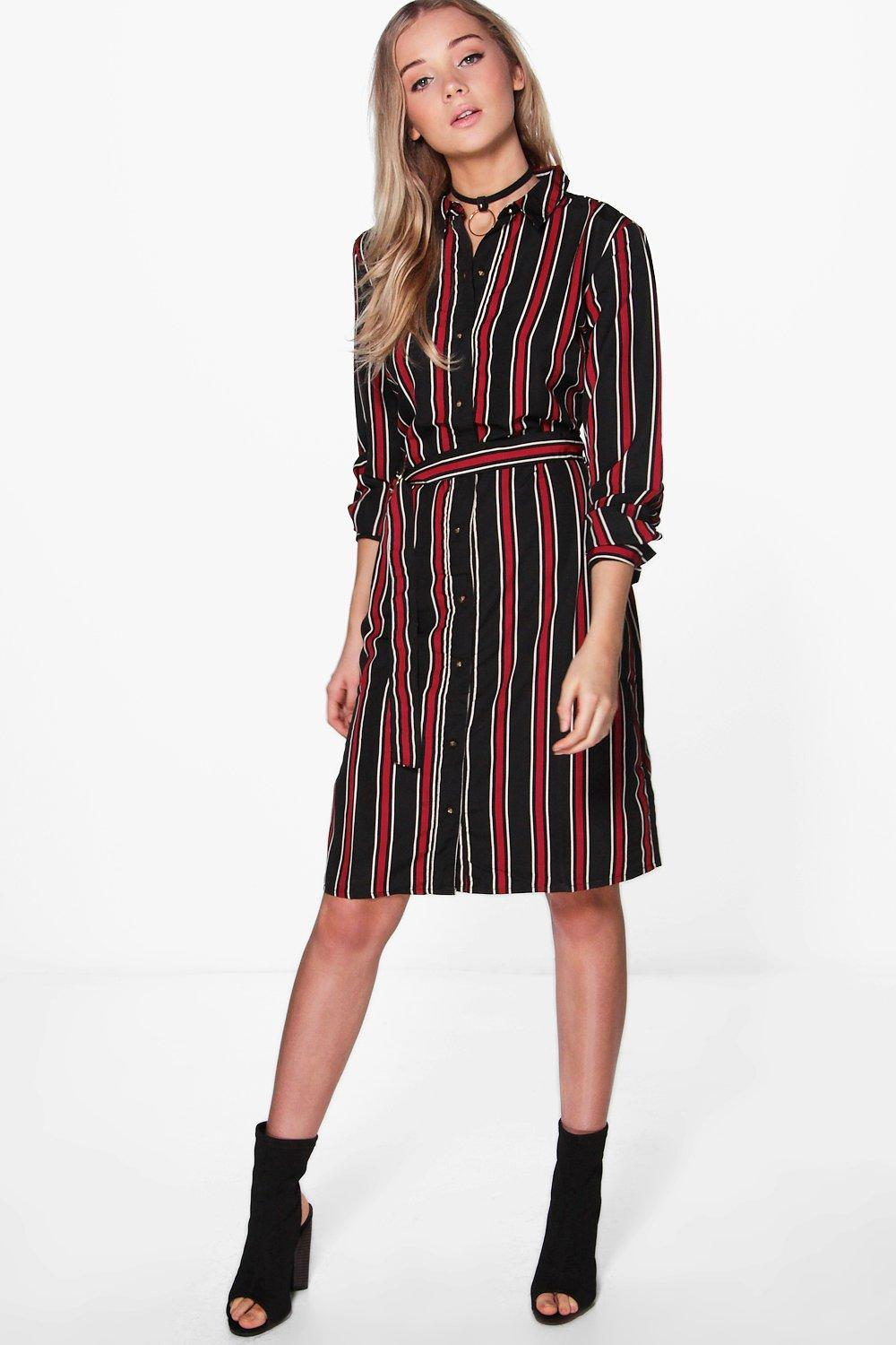 Striped Print Belted Shirt Dress  black