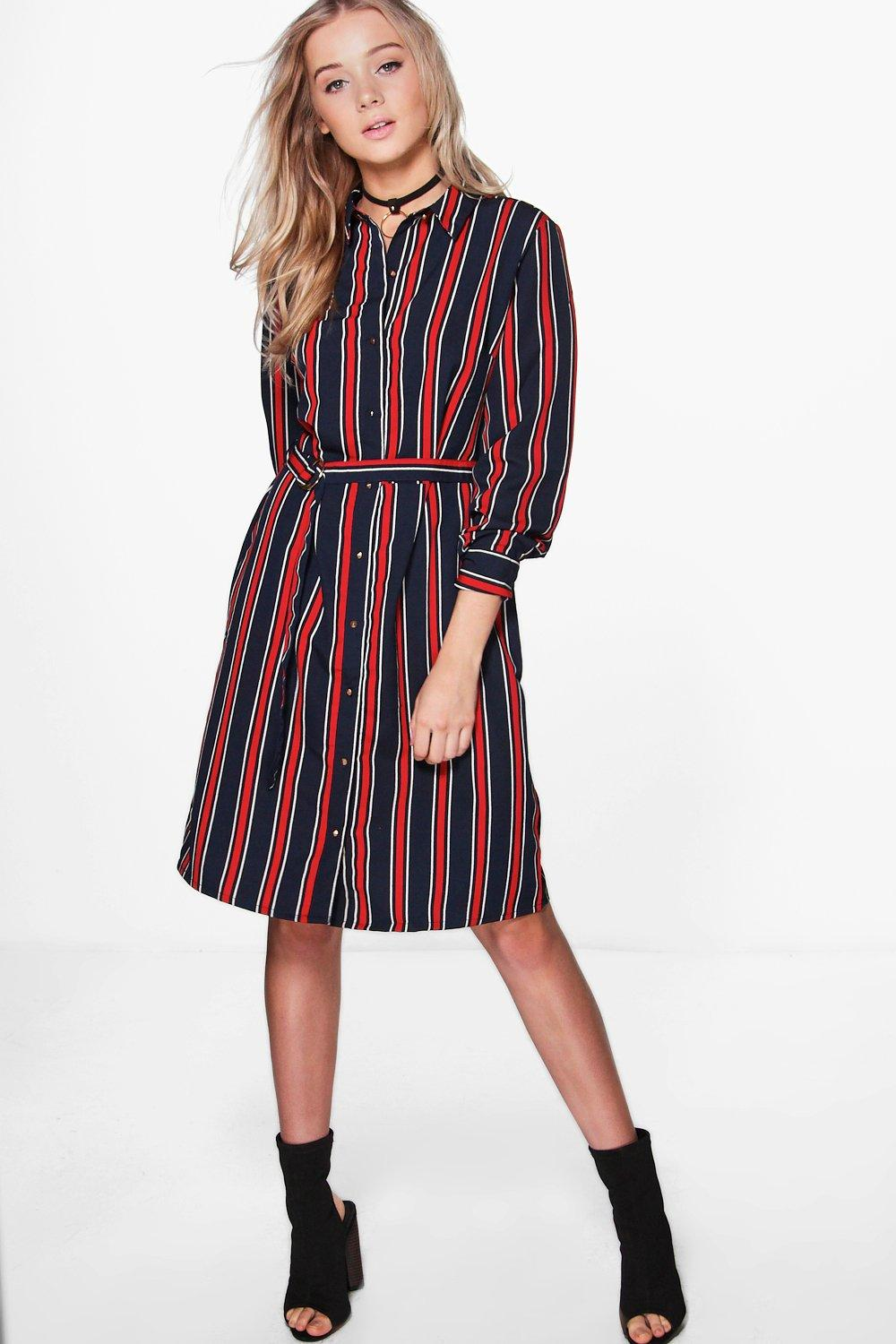 Striped Print Belted Shirt Dress  navy
