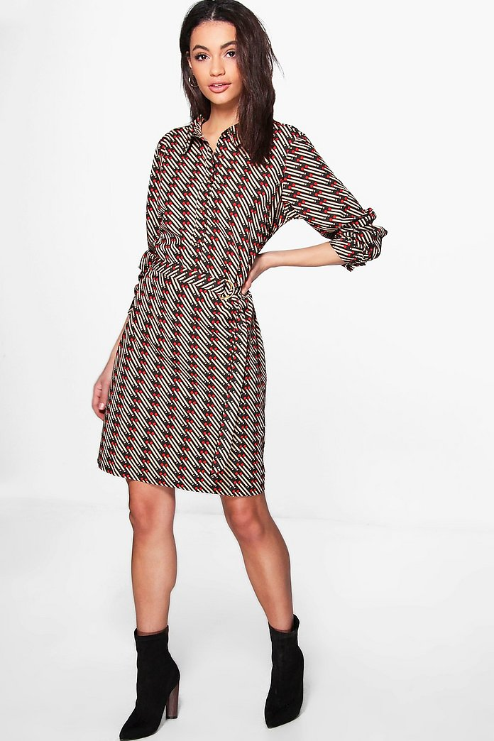 Cira Match Stick Printed Shirt Dress
